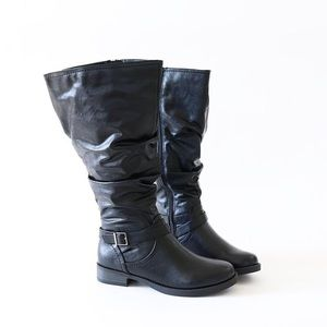 Sz 7 jeep vegan leather knee high boots wide calf